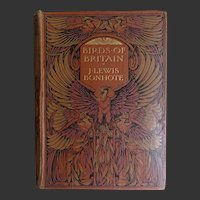 Antique Book FABULOUS  FIRST Ed. Art Nouveau Cover 'Birds of Britain' 100 Watercolour Paintings  Bonhote A & C Black