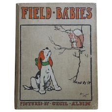 ANTIQUE Book Cecil ALDIN 'Field Babies' Dog Puppy 1910 24 Full Page Plates WONDERFUL