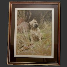 LARGE 29.5 x 23.5 inch ORIGINAL Pastel Terrier Dog Puppy 'Come On!' A Wardle 1864-1941