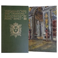 GORGEOUS Antique Book 'Versailles & the Trianons' 55 watercolour illustrations by René Binet 1906 France