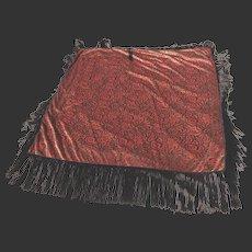 Chinese Embroidered Silk Shawl black fringe, panel size 48 inches c. 1900-1920