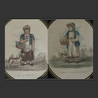 PAIR of FRAMED Antique Georgian Prints - Strawberry and Flower Sellers with Dogs