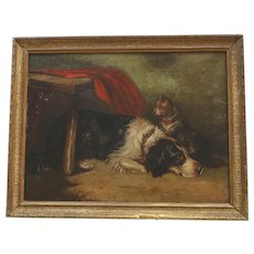 ANTIQUE English School Oil Painting of a Terrier Dog & His Friend Victorian