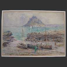 C.1910 English Watercolour of Mont St Michel W Edward Riley 1852–1937
