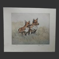 Pair of CORGI Dogs Ltd Ed Print 100/150 English artist Henry Wilkinson, A.R.E A.R.C.A 1921-2011.