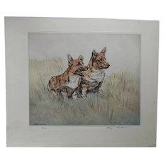 Pair of CORGI Dogs Ltd Ed Print 100/150 English artist Henry Wilkinson, A.R.E A.R.C.A 1921-2011.
