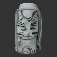 English Studio Pottery ~ Carn ~ Vase Whimsical Cat 8 3/4 inches tall Perfect & FUN!