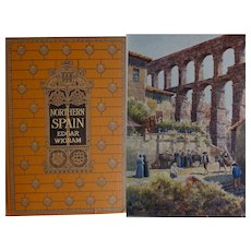 A BEAUTIFUL BINDING ~ SPAIN ~ Antique Book 1906 Painted & Described by E Wigram 75 watercolours A & C Black