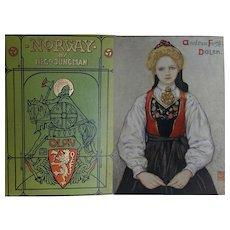 A BEAUTIFUL BINDING Antique Book 1905 'Norway' 75 Watercolours by N Jungman Text B Jungman A & C Black