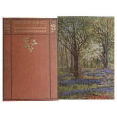 ANTIQUE Book 'The New Forest' England by W Rawnsley 20 watercolours ~ a year in the forest ~ 1904