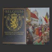 Antique Book 1908 'BELGIUM' 77 watercolour paintings by Forestier Text Omond A & C Black