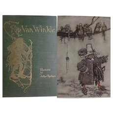 Antique Book 1905 RIP van WINKLE by Irving Washington 40 tipped in Watercolours Arthur Rackham