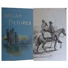 Antique Book 'Welsh Pictures' c.1880 Wales  Richard Lovett 72 illustrations - B&W engravings RTS