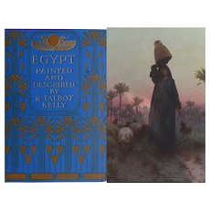 A BEAUTIFUL BINDING 'EGYPT' Antique Book 1903 Ed. 75 watercolours R Talbot Kelly