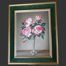 ROSES Flower Floral English Still Life Stilllife Oil Painting James Noble 1981 'Handel'