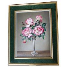 ROSES Flower Floral English Still Life Stilllife Oil Painting James Noble 1981 'Handel'