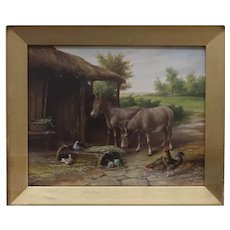 Antique English Oil Painting of Ponies / Horses Pony Horse on a Farm by their Stable