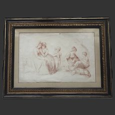 Antique c.1790 English Georgian Engraving of Children, Dog and Ladies Family with Original Hogarth Frame