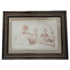 Antique c.1790 English Georgian Engraving of Children, Dog and Ladies Family with Original Hogarth Frame