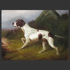Antique English Oil Painting of a Hunting Dog Pointer by Much Listed Artist Colin Graeme Roe 1892