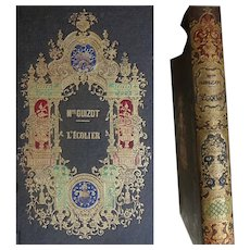 A BEAUTIFUL & RARE French Romantic BINDING -  1852 L'écolier or Raoul et Victor Mme Guizot