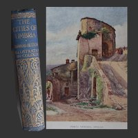 Antique Book 1905 'Cities of Umbria' Italy 20 x watercolours by Pisa Umbrian Art