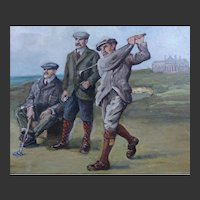 1920s-40s Oil Painting on Copper of 3 Golfers at St Andrews Scotland - The Royal and Ancient