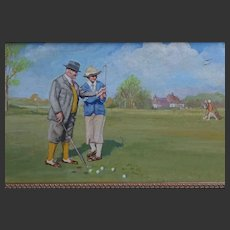 1920s-40s Oil Painting on Copper Lady Golfer receiving a Lesson - Golf Course Golfing