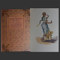 A BEAUTIFUL BINDING Antique Book 'Southern India' 1914 50 X watercolours Lady Lawley Text FE Penny