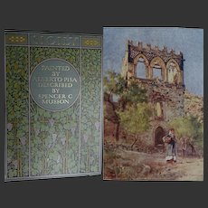 A BEAUTIFUL Binding Antique Book 'Sicily' 1911 48 watercolours by A Pisa Text S Musson A & C Black