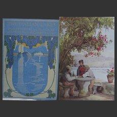 A BEAUTIFUL BINDING 'The Italian Lakes' Antique Book 1912 - 68 watercolours du Cane, text R Bagot  pub A & C Black