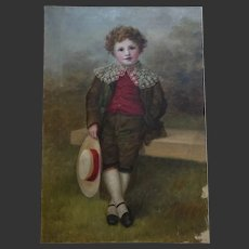 Edwardian Portrait of a Young Boy c.1901-1910 Oil Painting