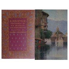 A BEAUTIFUL BINDING - Antique Book 1917 'Kashmir' 70 watercolours by Maj. Molyneux text F Younghusband