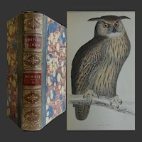 Antique Book 'A History of British Birds' Vol I Rev Morris 43 Hand coloured engravings - Vultures Owls, Eagles Hawks Etc.
