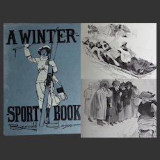 ANTIQUE BOOK 'A Winter Sport Book' 1911 Reginald Cleaver 21 tipped in illustrations 26 Line drawings