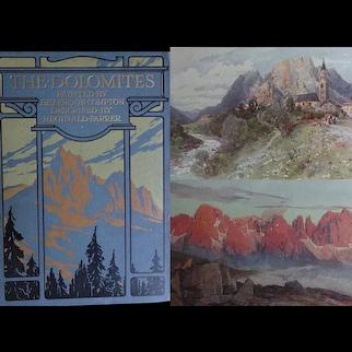 A BEAUTIFUL BINDING Antique Book 1913 The DOLOMITES - King Laurin's Garden - Mountains R Farrer 20 Watercolours E Harrison Compton