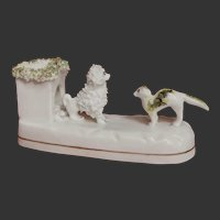 RARE Antique Miniature Staffordshire Pottery of A CAT confronting a Poodle Dog in Kennel c. 1840
