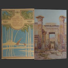 A BEAUTIFUL BINDING Antique Book 'The Banks of the Nile' Egypt 1913 SIXTY gorgeous Watercolours E du Cane Text Todd