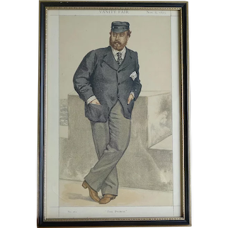 Original Vanity Fair Cartoon Portrait of The Prince of Wales ~ Albert Edward [Later Edward VII] 1873 Double Glazed