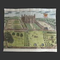 ANTIQUE c.1700 Hand Coloured Print of Sir Thomas Brograve's seat at Hammells, Hertfordshire