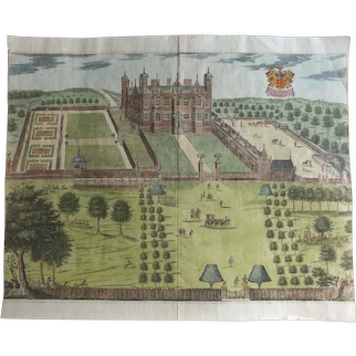 ANTIQUE c.1700 Hand Coloured Print of Sir Thomas Brograve's seat at Hammells, Hertfordshire