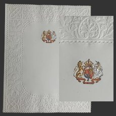 SIX Royal Buckingham Palace Menu or Concert cards. Lacey Embossed Pierced Borders and Royal Coat of Arms in Raised, Silver & Gilt