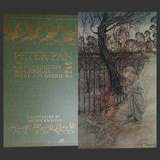 HUGE Antique Book 1912 Peter Pan in Kensington Gardens by JM Barrie 50 colour plates by Rackham plus lavish black & white line drawings