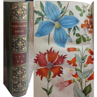 VOL 3-4 of The 'Floricultural Cabinet & Florists Magazine' 1835-6  27 Hand Painted Illustrations flowers