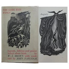 'The Gods Had Wings' WJ Brown 16 full page woodcuts by John Farleigh + Dust Wrapper 1936 Constable