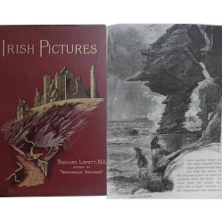 A BEAUTIFUL BINDING 1888 Irish Pictures Richard Lovett 132 x enravings many by Charles Whymper RTS