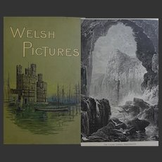A BEAUTIFUL BINDING 'Welsh Pictures' undated c. 1880 Wales Richard Lovett 72 illustrations - B&W engravings RTS