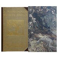 A FINE BINDING 1908 'A Midsummer Night's Dream' 1st Rackham edition 40 x colour plates Shakespeare