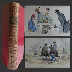 FINE BINDING 1848 'Sand [Egypt] & Canvas [Italy] ' Samuel Bevan 6 x coloured illustrations & black and white