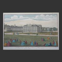 c.1756 'A Front view of the Royal Palace Kensington' Hand Coloured Engraving 14 x 9 1/2 inches